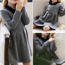 Sweet Doll Collar Long Sleeve Children Dress