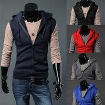 Fashion Solid Color Hooded Men's Vest