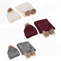Fashion Solid Color Knit Cap + Knit Scarf Set