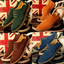 Fashion Round Toe Lace-up Men's Casual Leather Shoes