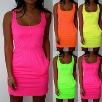 Fashion Solid Color Sleeveless Round Neck Gathered Waist Dress