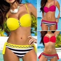 Sexy Striped Spliced Push-up Bikini Set