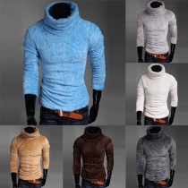 Fashion Solid Color Turtleneck Long Sleeve Fuzzy Sweater For Men