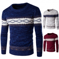 Trendy Contrast Color Printed Round Neck Long Sleeve Men's Knit Sweater