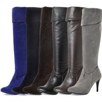 Fashion Solid Color Round Toe Side Zipper Over The Knee Boots