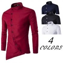 Retro Ethnic Solid Color Stand Collar Oblique Button Irregular Shirt