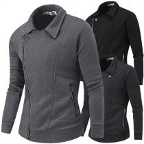 Fashion Casual Solid Color Long Sleeve Oblique Zipper Sweatshirt Coat