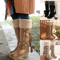 Fashion Round Toe Wadge Heel Knee-high Boots