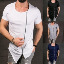 Fashion Solid Color Round Neck Short Sleeve Front Zipper T-shirt