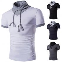 Fashion Casual Color Spliced Short Sleeve T-shirt