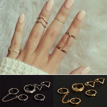 Fashion Gold/Silver-tone Alloy Ring Set 6 pcs/Set