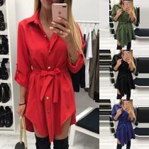 Fashion Solid Color Long Sleeve Single-breasted Irregular Hem Shirt Dress