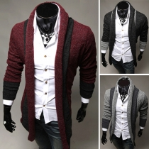 Fashion Contrast Color Long Sleeve Men's Cardigan