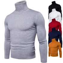 Fashion Solid Color Long Sleeve Turtleneck Men's Knit Top