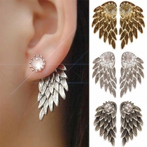 Retro Style Rhinestone Inlaid Wings Shaped Stud Earrings