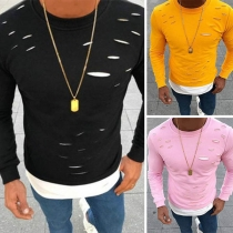 Fashion Contrast Color Long Sleeve Round Neck Ripped Men's T-shirt