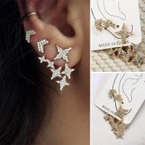 Fashion Rhinestone Inlaid Pentagram Shaped Stud Earring Set 3 pcs/Set