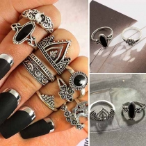 Retro Style Alloy Ring Set 10 pcs/Set