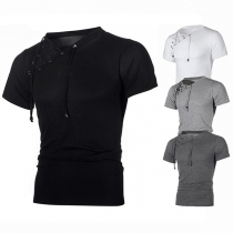 Chic Style Lace-up Oblique V-neck Short Sleeve Men's T-shirt