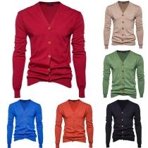 Fashion Solid Color Long Sleeve V-neck Men's Knit Cardigan