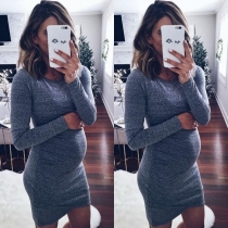 Fashion Long Sleeve Round Neck Slim Fit Dress for Pregnant Women