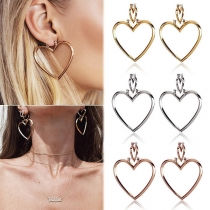 Simple Style Hollow Out Heart Shaped Detachable Earrings