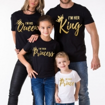 Fashion Gold-tone Letters Printed Short Sleeve Round Neck Parent-child T-shirt