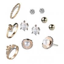 Fashion Alloy Alloy + Stud Earrings Set