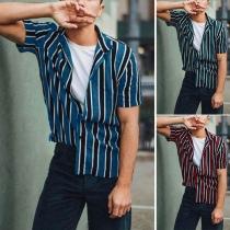 Fashion Short Sleeve POLO Collar Men's Striped Shirt