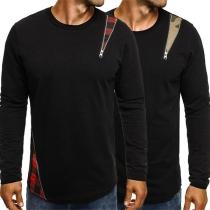 Fashion Printed Spliced Long Sleeve Round Neck Men's T-shirt
