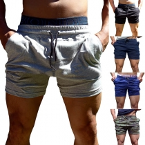 Fashion Solid Color Elastic Waist Men's Sports Shorts