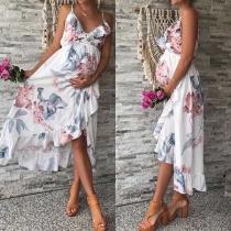 Sexy Backless V-neck Irregular Hem Printed Sling Dress for Pregnant Woman