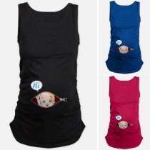 Cute 3D Printed Sleeveless Round Neck Tank Top for Pregnant Woman