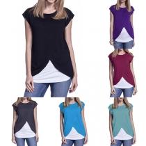Fashion Contrast Color Short Sleeve Maternity Breastfeeding T-shirt