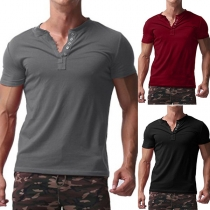 Fashion Solid Color Short Sleeve V-neck Men's T-shirt