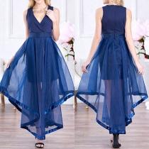 Sexy Deep V-neck Irregular Hem High Waist Sleeveless Party Dress