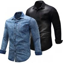 Fashion Long Sleeve POLO Collar Single-breasted Men's Denim Shirt