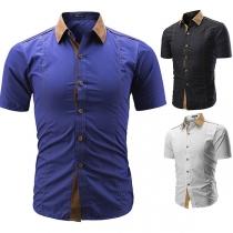 Fashion Contrast Color Short Sleeve POLO Collar Men's Shirt