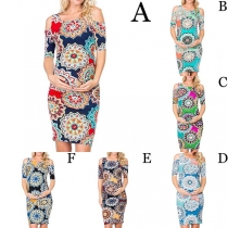 Sexy Off-shoulder Short Sleeve Slim Fit Printed Maternity Dress