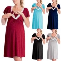 Fashion Lace Spliced V-neck Short Sleeve Breastfeeding Maternity Dress