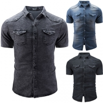 Fashion Lapel Solid Color Short Sleeve Single-breasted Pockets Man's Denim Shirt