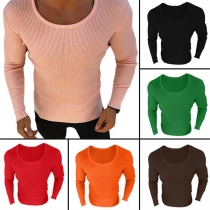 Fashion Solid Color Long Sleeve Round Neck Men's Knit Top