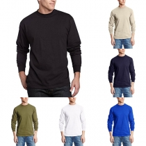 Simple Style Long Sleeve Round Neck Men's T-shirt