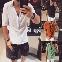 Fashion Solid Color Half Sleeve Stand Collar Men's T-shirt