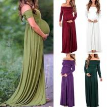 Sexy Off-shoulder Boat Neck High Waist Solid Color Maternity Dress
