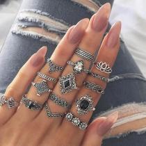 Retro Style Silver-tone Alloy Ring Set 15 pcs/Set