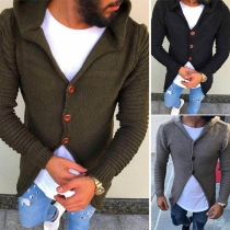 Fashion Solid Color Long Sleeve Hooded Men's Knit Cardiagn