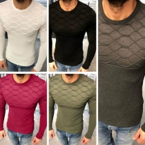 Fashion Solid Color Long Sleeve Round Neck Slim Fit Men's Knit Top