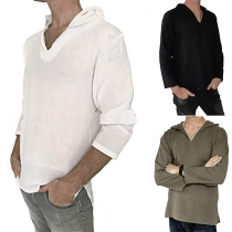 Simple Style Solid Color Long Sleeve Hooded Men's Top