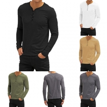 Fashion Solid Color Long Sleeve V-neck Men's T-shirt